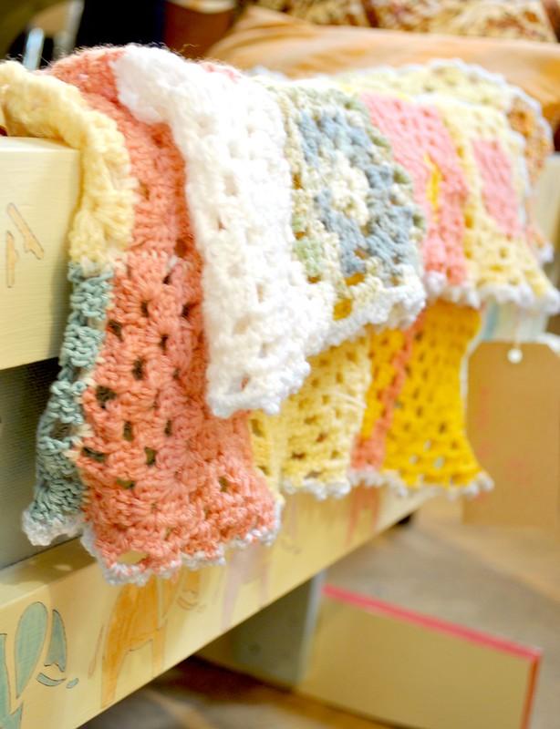 Crochet blankets @Emmaus, Brighton