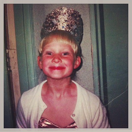 Tiara, smeared lipstick and demented expression--not much has changed! #nostalgia #throwbackthursday