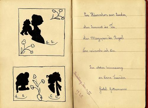 Klaras Poesiealbum 1920 Scherenschnitt