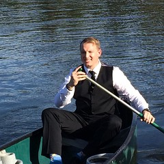 Coolest groom arrival ever! Doug paddled across the lake to the ceremony to meet @karissamarcum #wedding #lake #colorado #mountains #runtothealtar2016