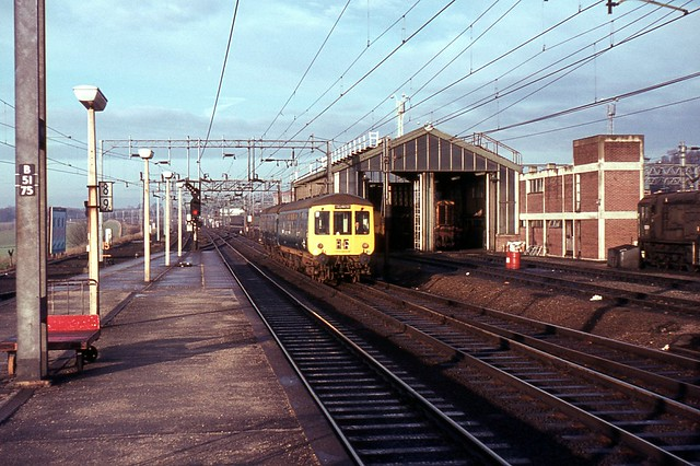 DMU on down service approaching Colchester, 1971