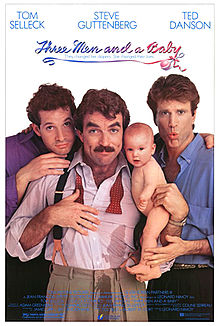 Cover for the Three Men and a Baby DVD, featuring Steve Guttenberg, Tom Selleck, and Ted Danson in various levels of shock about the titular baby having peed on Selleck.