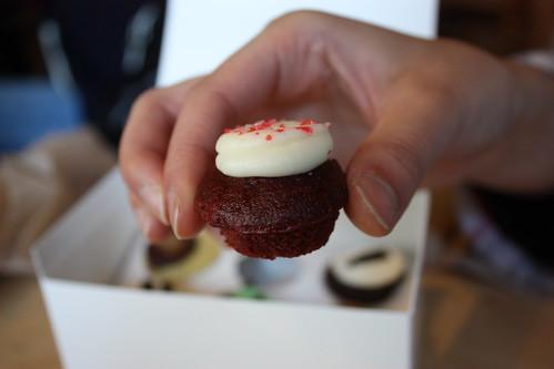 Coin size red velvet cupcake