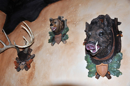 Animals on the wall in Gaston's Tavern
