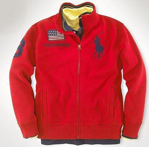 Men RL Big Pony Country Track Jacket United States in Red