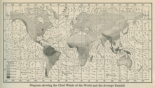 Diagram showing the Chief Winds of the World and the Average Rainfall (1922) from Flickr via Wylio