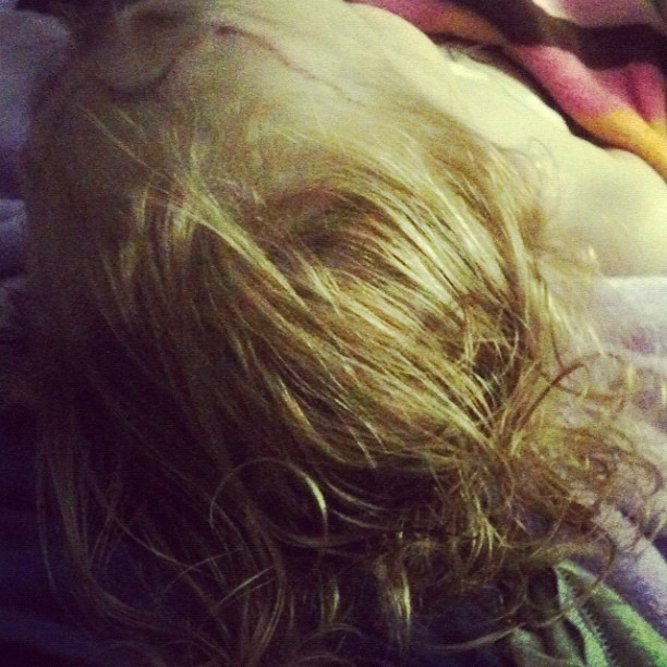 I brushed her sweet curls out, cut out mattes from surgery... #gonnamissthisforawhile #gingerfight #prayersforreesey #reesey