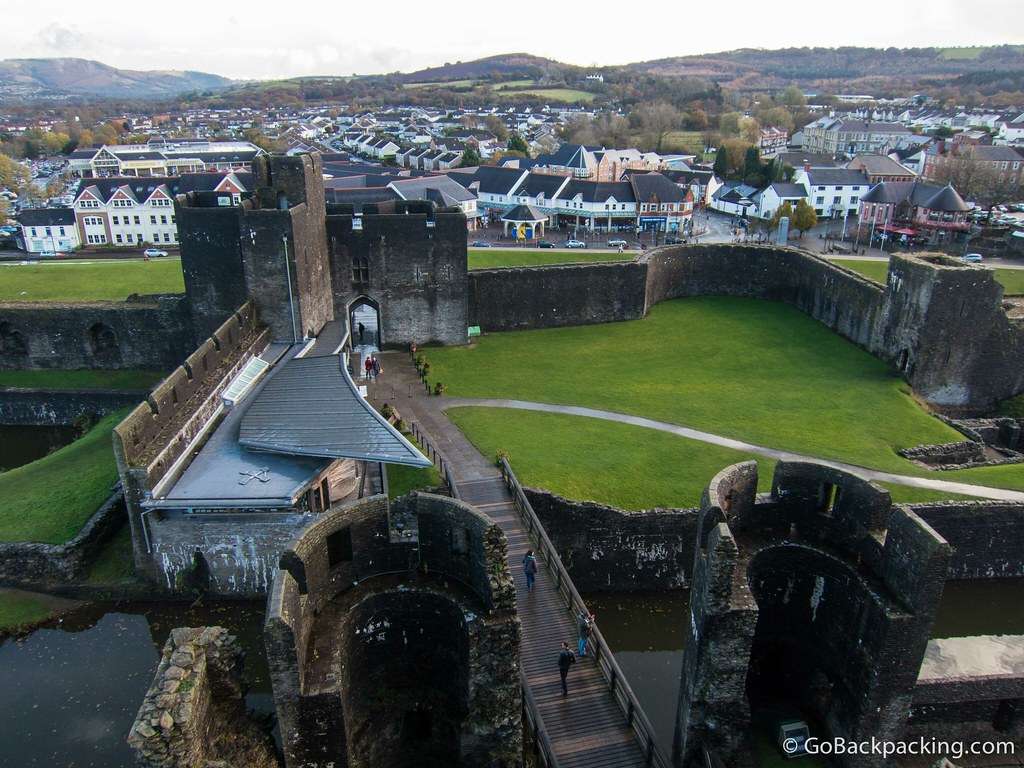 View of Caerphilly, and the castle's main entrance, from atop the inner east gatehouse