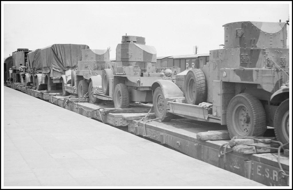 British  armoured cars and lorries at Lydda Railway station, Palestine - circa 1938