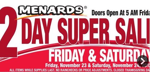 Menards Black Friday 2 Day And 3 Day Sales 11 22 11 24