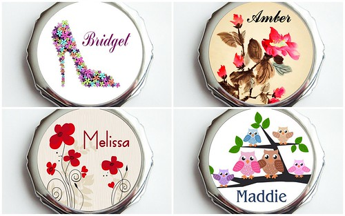 Cute Bridesmaid's Gift: Personalized Compact Mirrir by Nina Renee Designs