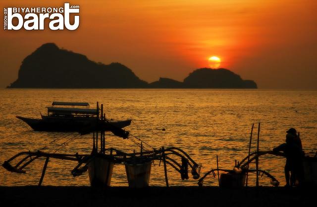 sunset in capones island pundaquit zambales