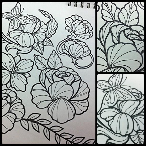 Diseno Varias Flores Flowers Design Diseno Ink Skin Tattoo