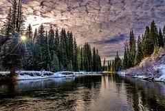 Inlet to Payette Lake in Idaho sunrise