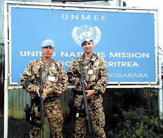 Two Finnish peacekeeping soldiers on duty 24 hours  a day at the United Nations Mission in Addis Ababa, Ethiopia.