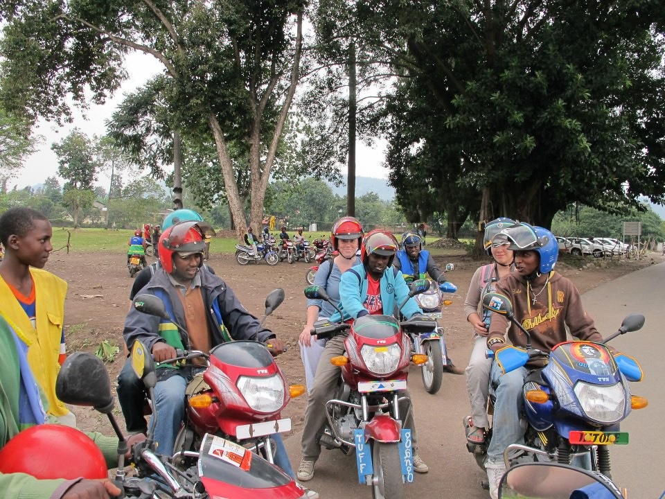 Attempting to enter the Democratic Republic of Congo, we hired these taxi moto drivers to take us to the border. We failed, and retreated back to Rwanda.