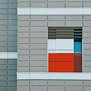geometry in grey, with red and blue