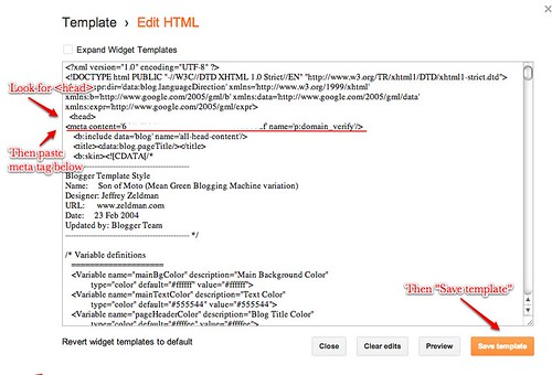 Insert Meta Tag in Template HTML
