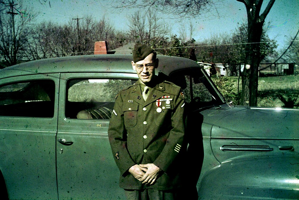 GI with Car - Nice Color Slide from about 1946