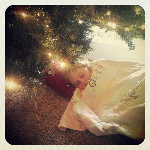 Napping under the Xmas tree after a long night of being sick. (She's feeling better now.)