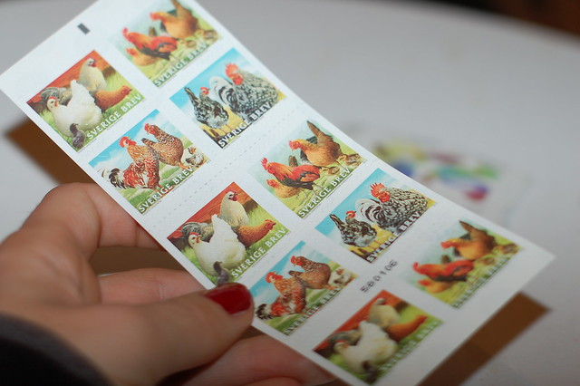 Chicken stamps from Sweden, photo  by @iHanna - made for the #Diypostcardswap