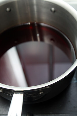 red wine in pot for vin chaud