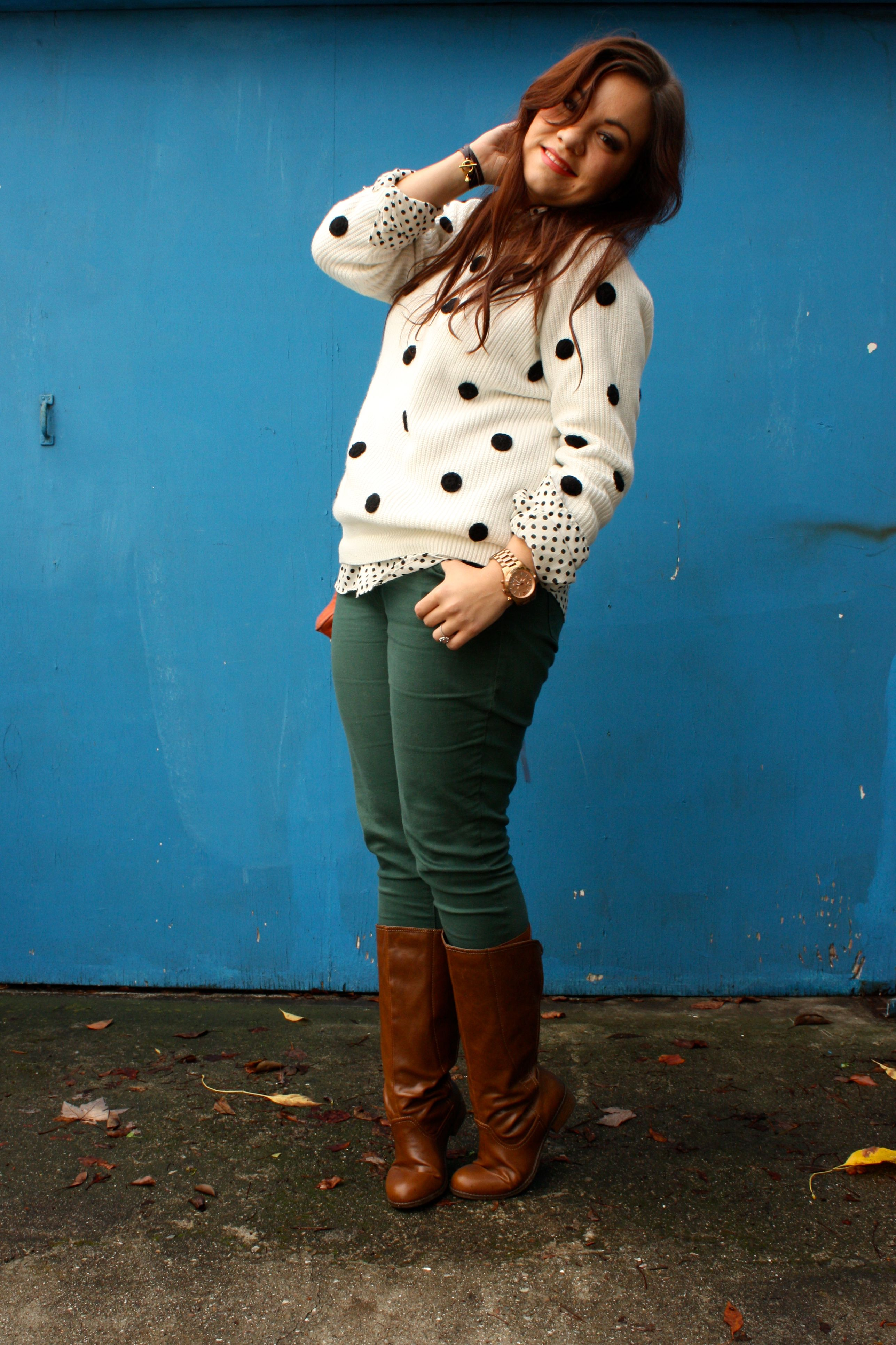 polka dot sweater and blouse - forest green jeans - congac boots - orange rebecca minkoff mac05