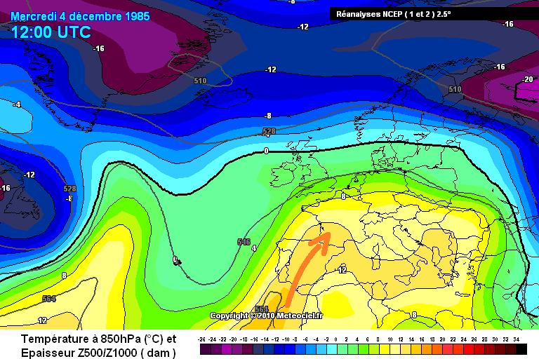 carte de masses d'air du foehn et des records de chaleur du début décembre 1985 météopassion