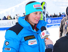 Kelsey Serwa speaks to the media at the Nakiska Snowdown.