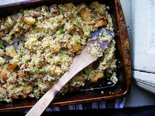 quinoa with green onion and roasted parsnips and mushrooms