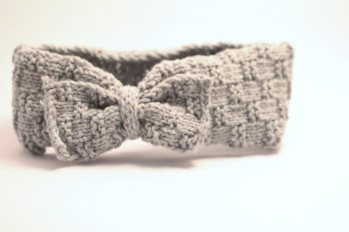 knitted earwarmer grey with bow