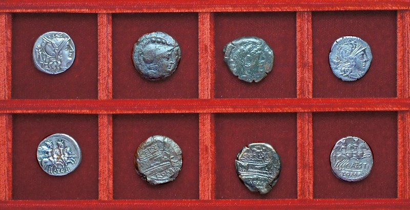 RRC 217 C.TER LVC Terentia denarius, bronzes, RRC 219 C.ANTESTI Antestia denarius, Ahala collection, coins of the Roman Republic