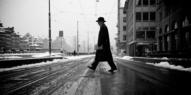 Snow Walk - 35 Fantastic Black and Whiite Street Photographs
