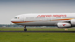 Surinam Airways A340 thundering down the runway on it's way to Paramaribo