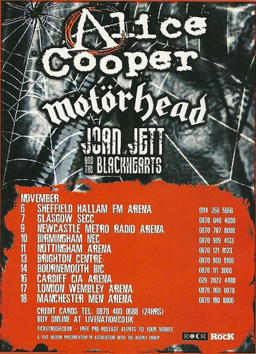 November 2007 Alice Cooper/ Motorhead/ Joan Jett & the Blackhearts UK Tour