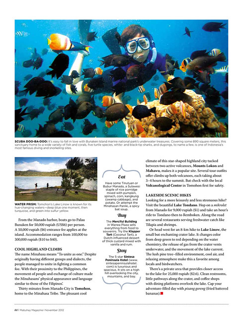 page 2 of the North Sulawesi feature on Mabuhay November 2012 Issue