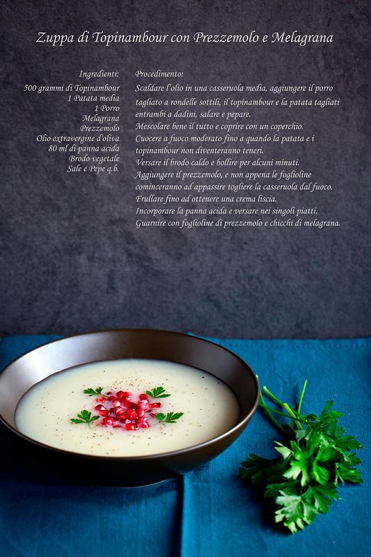 Zuppa con topinambour, prezzemolo e melagrana