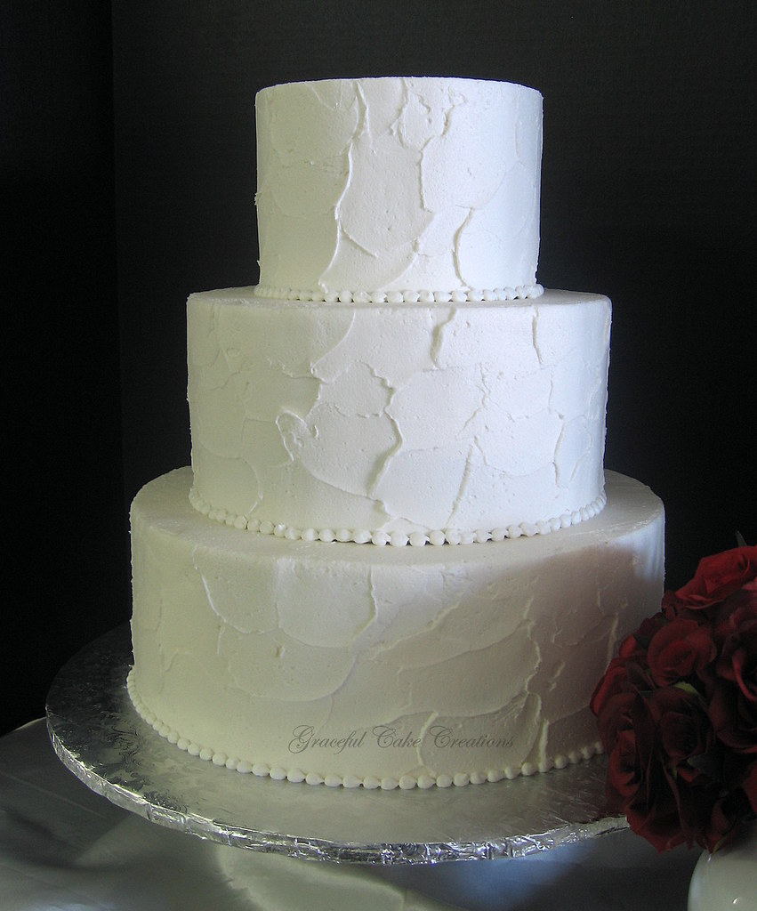 simple elegant textured buttercream wedding cake a photo on flickriver. Black Bedroom Furniture Sets. Home Design Ideas