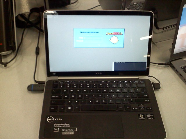 Dell XPS 13 Ultrabook running OpenBSD snapshot from Nov 10, 2012