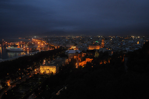 Malaga cathedral at night, from Gibralfaro