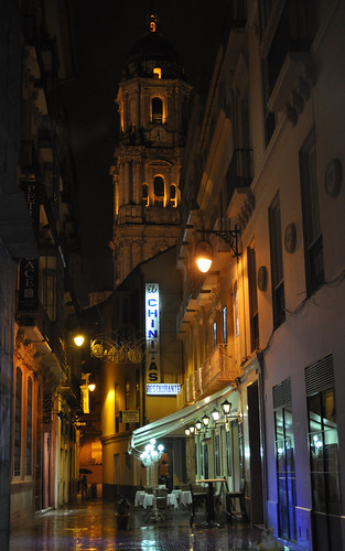 Cathedral tower at night