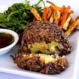 Lentil and Mushroom Loaf with Savory Potato Filling