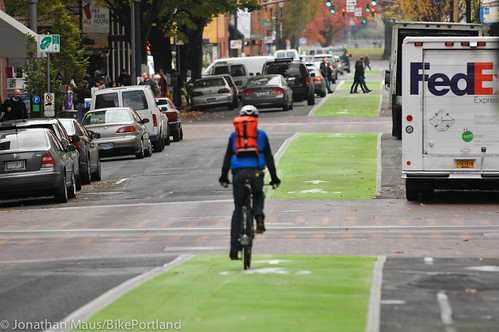 Green bike lanes Stark and Oak-9