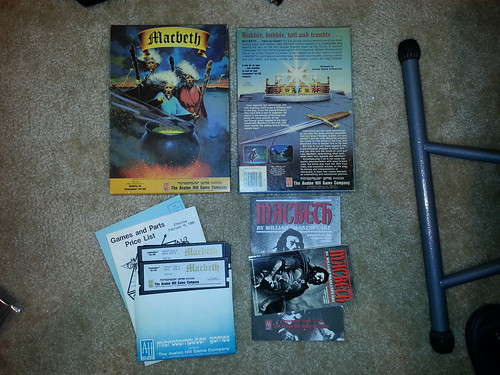 Avalon Hill's Macbeth for the Commodore 64. That was 1986 when it wasn't just indie publishers taking risks.