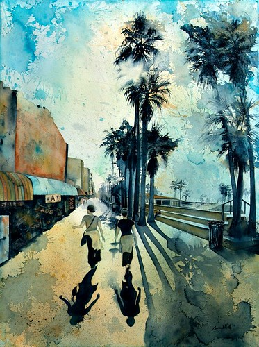 Early morning on the Venice Boardwalk by Louisa Quilisch