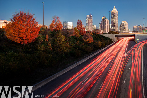 city longexposure atlanta sunset urban fall skyline night georgia highway cityscape fallcolor nightshot traffic lighttrails bluehour metropolitan i75 fall2012