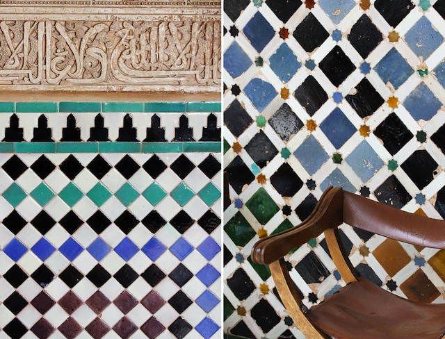 Alhambra tiles and leather chair
