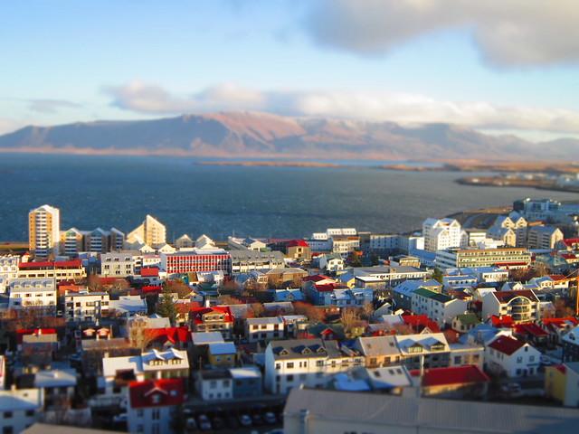 a birds eye view of Reykjavik Iceland