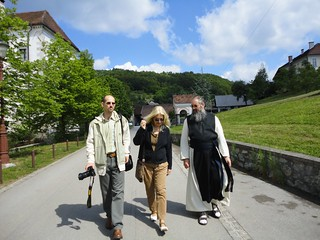 Vassula touring the Stična Abbey with Fr. Branko Petaver and Miha