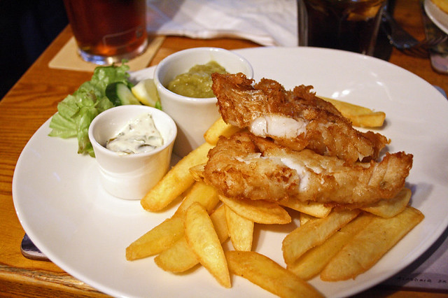 The Bombardier fish&Chips (home made batter) sauce tartare and mushy peas